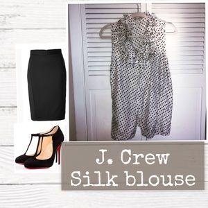 Polka dot 100% silk J. Crew blouse